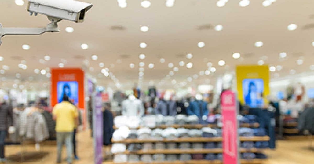 Security camera monitoring the Clothes store blur background with bokeh
